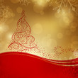 Vector Christmas Background with a Stylized Christmas Tree