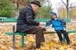 Disabled senior man teaching his grandson to play chess