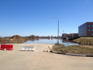 steet during spring flood in russia