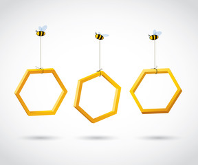 Three bees carry honeycombs