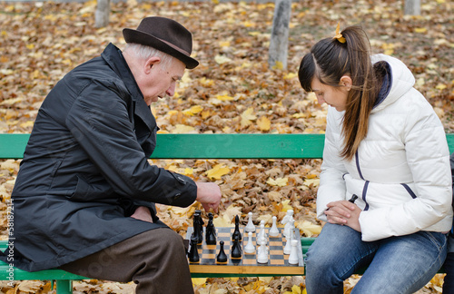 Senior man spending quality time playing chess
