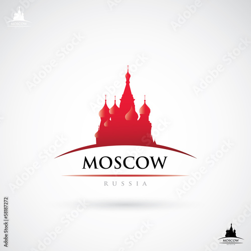 Moscow label with St. Basil cathedral