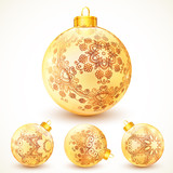 Ornate vintage golden Christmas balls set