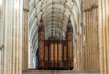 Church organ in York Minster. UK