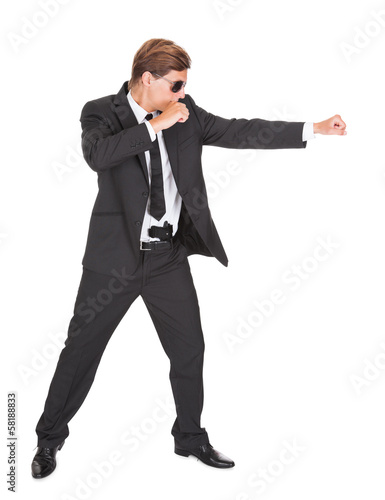 Male Secret Agent Fighting