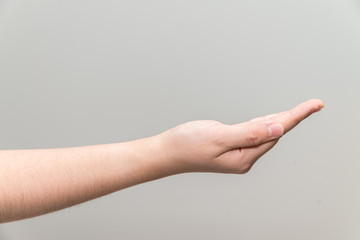 Hand with open palm facing up