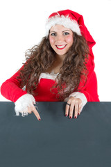Woman Santa Claus with black Sign