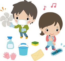 家の大掃除をする若い男女