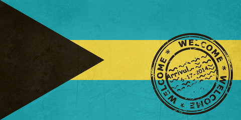 Welcome to Bahamas flag with passport stamp