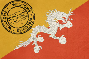 Welcome to Bhutan flag with passport stamp