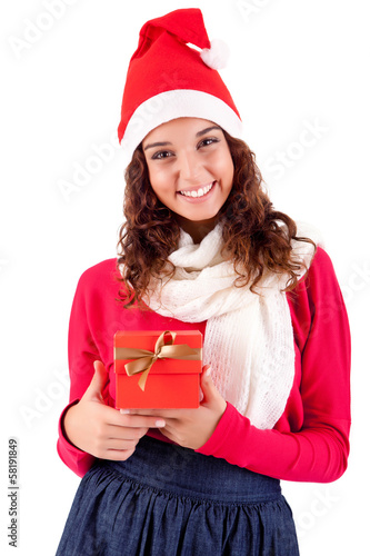 Woman holding a gift for christmas