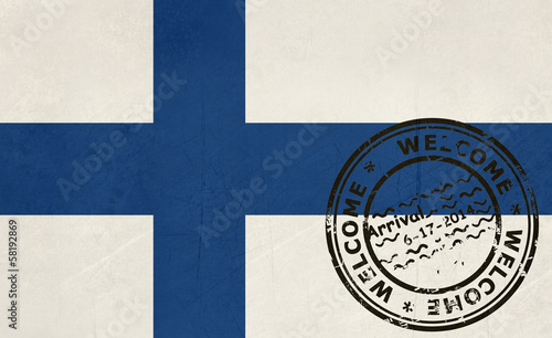 Welcome to Finland flag with passport stamp