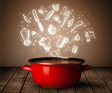 cooking icons coming out from cooking pot - 58193633