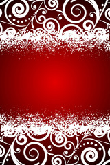 Vector red background with white floral decorations and snowflak