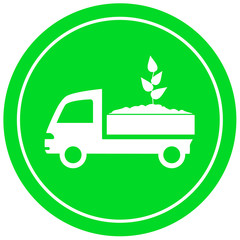 truck with soil and sprout - garden delivery symbol
