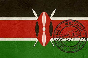 Welcome to Kenya flag with passport stamp