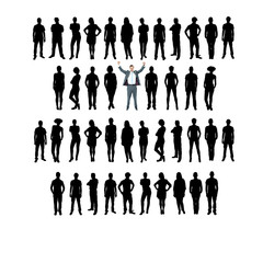 Vector business silhouette, white background