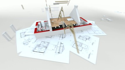 3D animation showing a home construction process