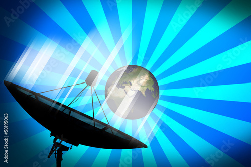 Satellite dish transmission data on blue background 2