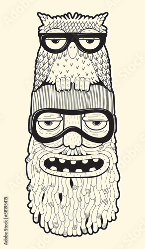 bearded man in ski-glasses with owl on his head - 58195415