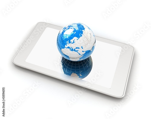 Phone and earch.Global internet concept