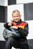 Happy little girl on karting