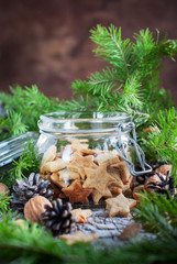 Ginger Cookies Stars in the glass jar, christmas composition