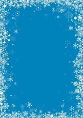 White snowflakes on blue background vector frame