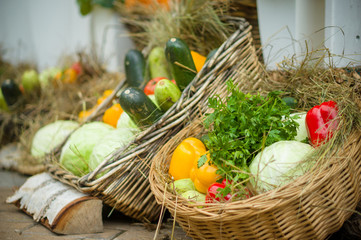 Peppers, zucchini, salad and cabbages in basket with straw on ci