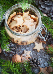 Christmas Cookies Stars in the glass jar with Fir Tree