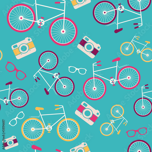 Vector seamless pattern with vintage bicycle