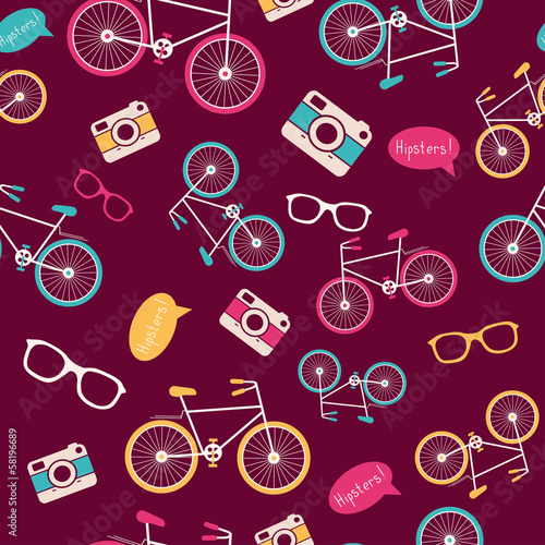 Materiał do szycia Vector seamless pattern with vintage bicycle