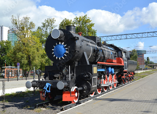 Kaliningrad. The old German engine at the platform of the Northe
