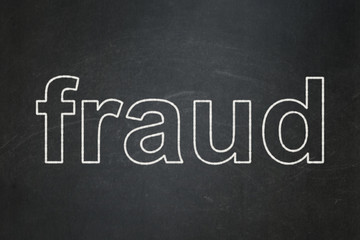 Protection concept: Fraud on chalkboard background