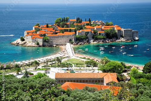 Aluminium Sveti Stefan, small islet and resort in Montenegro.