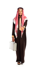 Young smiling arab with a aluminum case isolated on white