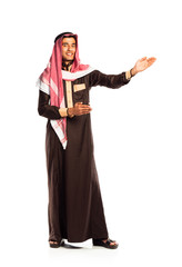 Young smiling arab invites. Isolated on white