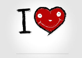 i love you and i love design concept with heart