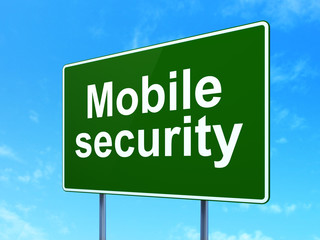 Security concept: Mobile Security on road sign background