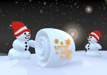 two snowman with winter special sign