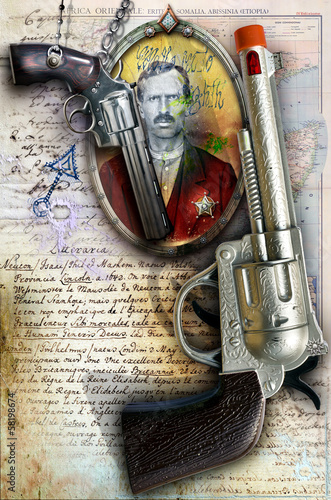 Background with old revolver and map