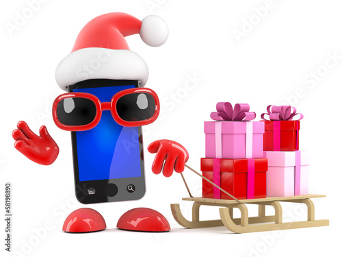 Smartphone Santa has a sled full of presents