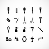 Fototapety Set of hairdressing equipment icons