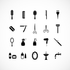 Set of hairdressing equipment icons