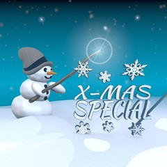 snowman with magic wand and christmas special sign
