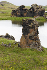 Iceland. Myvatn. Lake and lava formations.
