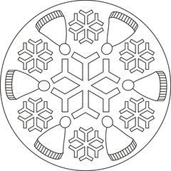 Winter mandala with snowflakes and winter caps