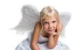 kleiner Engel schaut in die Kamera