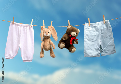 Boy or girl? on the outdoor clothesline