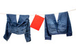 Jeans, with red table on the clothesline